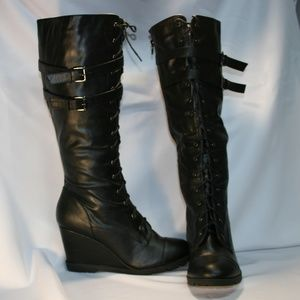 Bamboo Knee High Wedge Fur Lined Boots